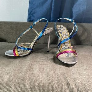 Gucci Metallic leather and sequin strappy sandal